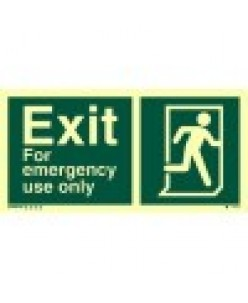 Exit-Sign-With-Running-Man-Symbol-Arrow-Diagonally-Down-Left-Photoluminscent