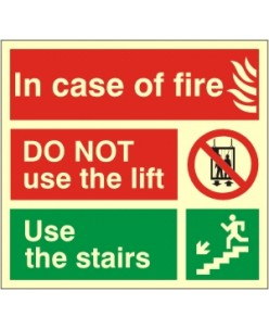 In Case of Fire Sign-Photoluminscent